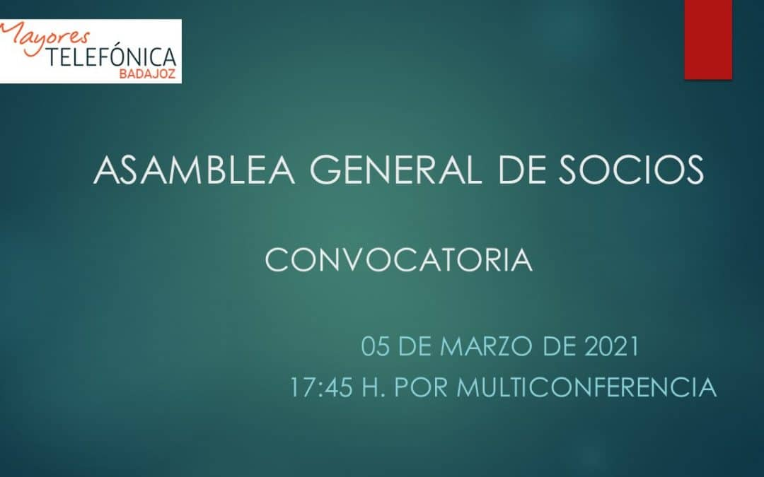 Asamblea General de Socios 2021 > Convocatoria